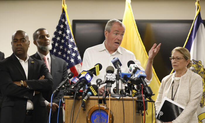 New Jersey Governor Phil Murphy speaks about Newark's ongoing water crisis during a press conference held at the Newark Health Department in Newark, New Jersey, on Aug. 14, 2019. (Rick Loomis/Getty Images)