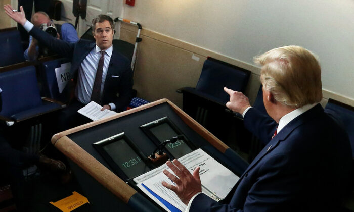 President Donald Trump responds to a question by NBC News White House Correspondent Peter Alexander during a news briefing on the latest development in the CCP virus outbreak in the United States at the James Brady Press Briefing Room at the White House in Washington on March 20, 2020. (Alex Wong/Getty Images)