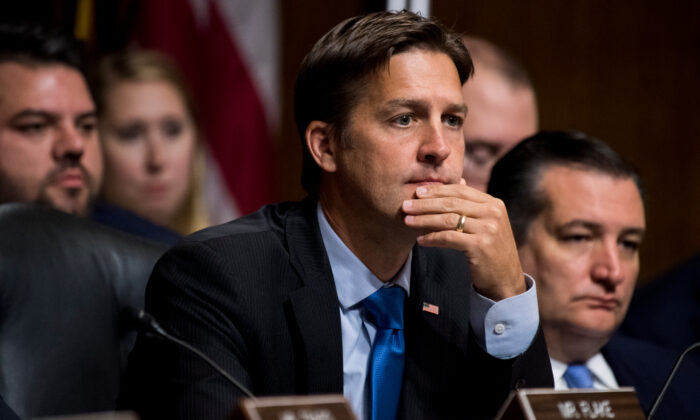 Sen. Ben Sasse (R-Neb.) listens as Dr. Christine Blasey Ford testifies during the Senate Judiciary Committee hearing on the nomination of Brett Kavanaugh to be an associate justice of the Supreme Court of the United States in Washington on Sep. 27, 2018. (Tom Williams/AFP via Getty Images)