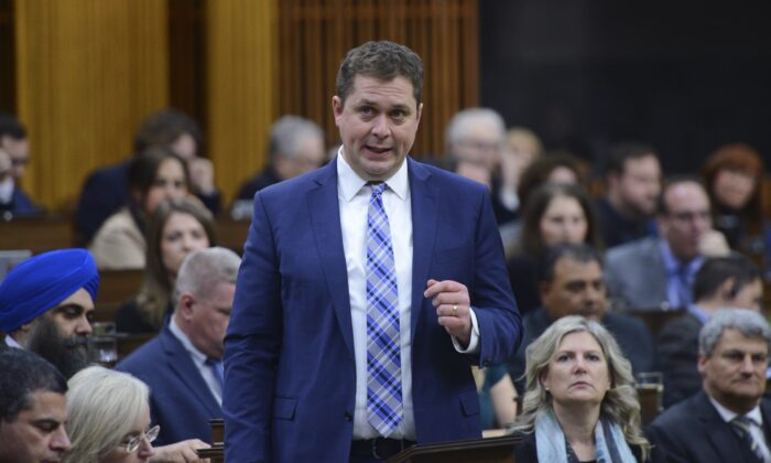 Conservative leader Andrew Scheer asks a question during question period in the House of Commons on Parliament Hill in Ottawa on March 12, 2020. (The Canadian Press/Sean Kilpatrick)