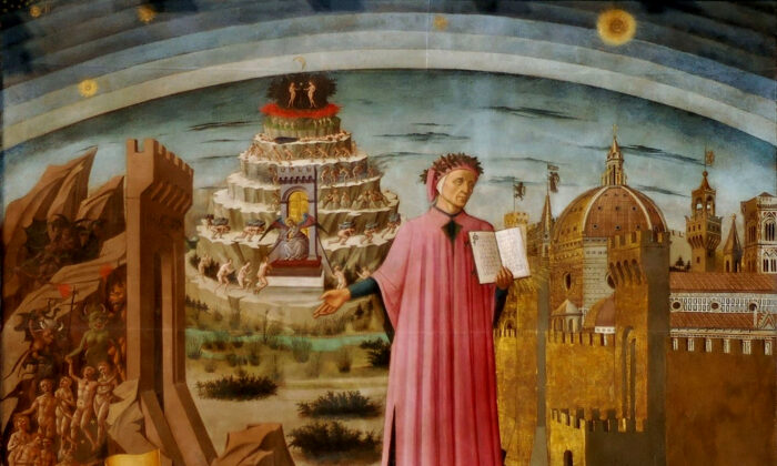 """Dante holding his """"Divine Comedy,"""" next to the entrance to Hell, the seven terraces of Mount Purgatory and the city of Florence, with the spheres of Heaven above, 1465, in a fresco by Domenico di Michelino. Cathedral of St. Mary of  Fiore, Florence. (Public Domain)"""