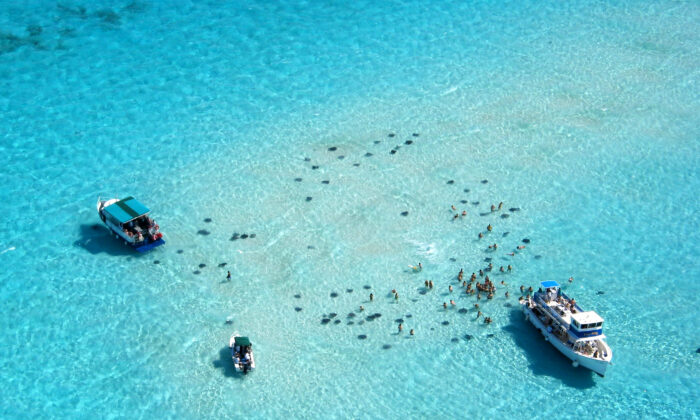An aerial view of Stingray City. (Cayman Islands Department of Tourism)