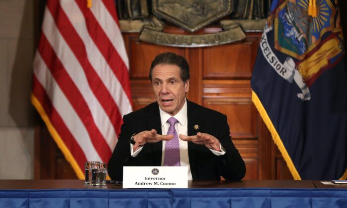 New York Governor Andrew Cuomo speaks during his daily news conference amid the coronavirus outbreak in New York City, on March 20, 2020. (Bennett Raglin/Getty Images)