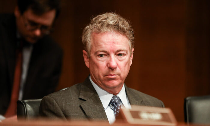 Sen. Rand Paul (R-Ky.) at a Senate hearing regarding the coronavirus in Washington on March 3, 2020. (Charlotte Cuthbertson/The Epoch Times)