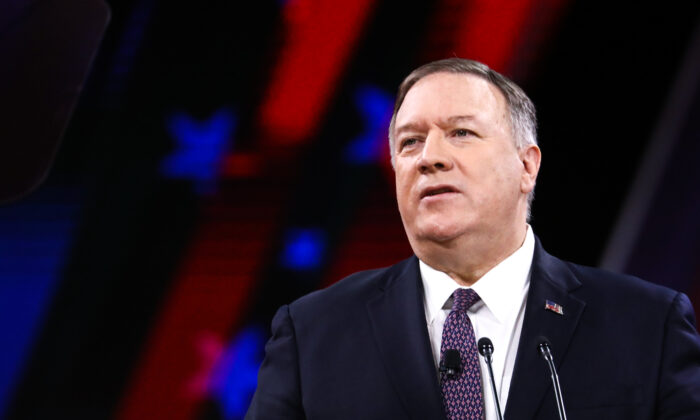 Secretary of State Mike Pompeo speaks at the CPAC convention in National Harbor, Md., on Feb. 28, 2020. (Samira Bouaou/The Epoch Times)