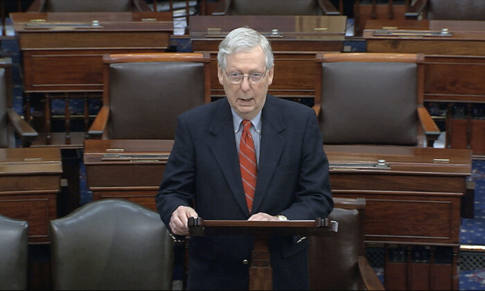 Senate Majority Leader Mitch McConnell (R-Ky.) speaks on the Senate floor at the U.S. Capitol in Washington, on March 21, 2020. (Senate Television via AP)