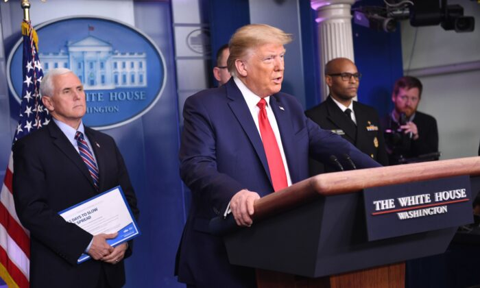 President Donald Trump speaks during the daily briefing on the CCP virus, commonly known as the novel coronavirus, at the White House in Washington, on March 22, 2020. (Eric Baradat/AFP via Getty Images)