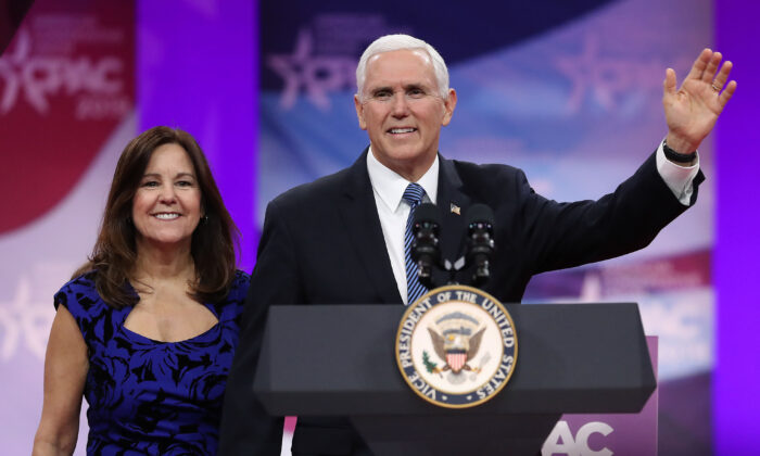 U.S. Vice President Mike Pence and his wife, Karen Pence, are introduced during CPAC 2019 in National Harbor, Md., on March 1, 2019. (Mark Wilson/Getty Images)