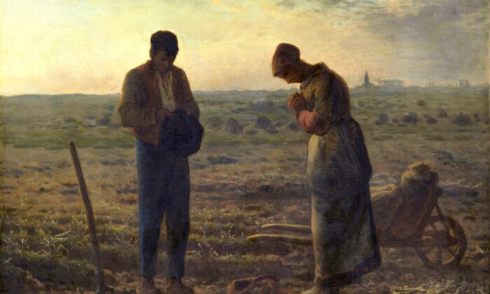 """The Angelus"" by Jean-François Millet depicts a man and woman taking a moment to pray, a welcome respite from the work of digging potatoes. (Public Domain)"