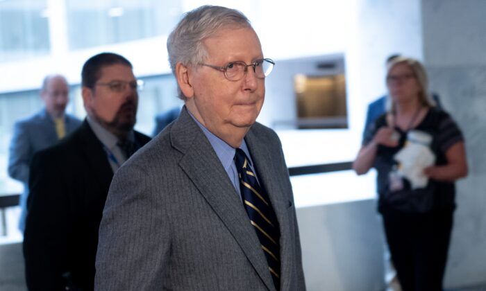 Senate Majority Leader Mitch McConnell on Capitol Hill in Washington on March 20, 2019. (SAUL LOEB/AFP via Getty Images)
