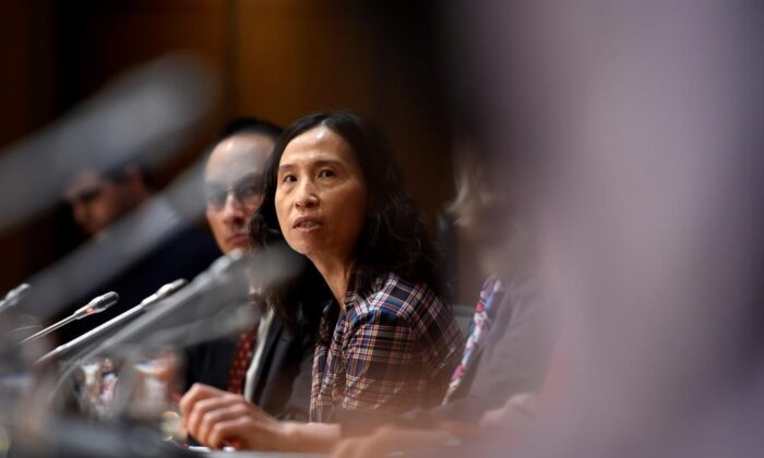 Chief Public Health Officer of Canada Dr. Theresa Tam speaks during a press conference on COVID-19 in West Block on Parliament Hill in Ottawa, on March 20, 2020. (The Canadian Press/Justin Tang)