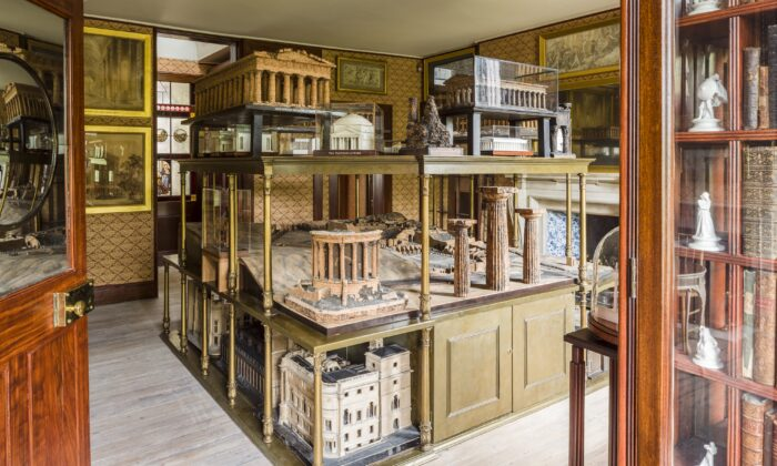Sir John Soane's model room. Giovanni Altieri's cork model of the Temple of Vesta is prominently on display on the center shelf. (Gareth Gardner/Sir John Soane's Museum)