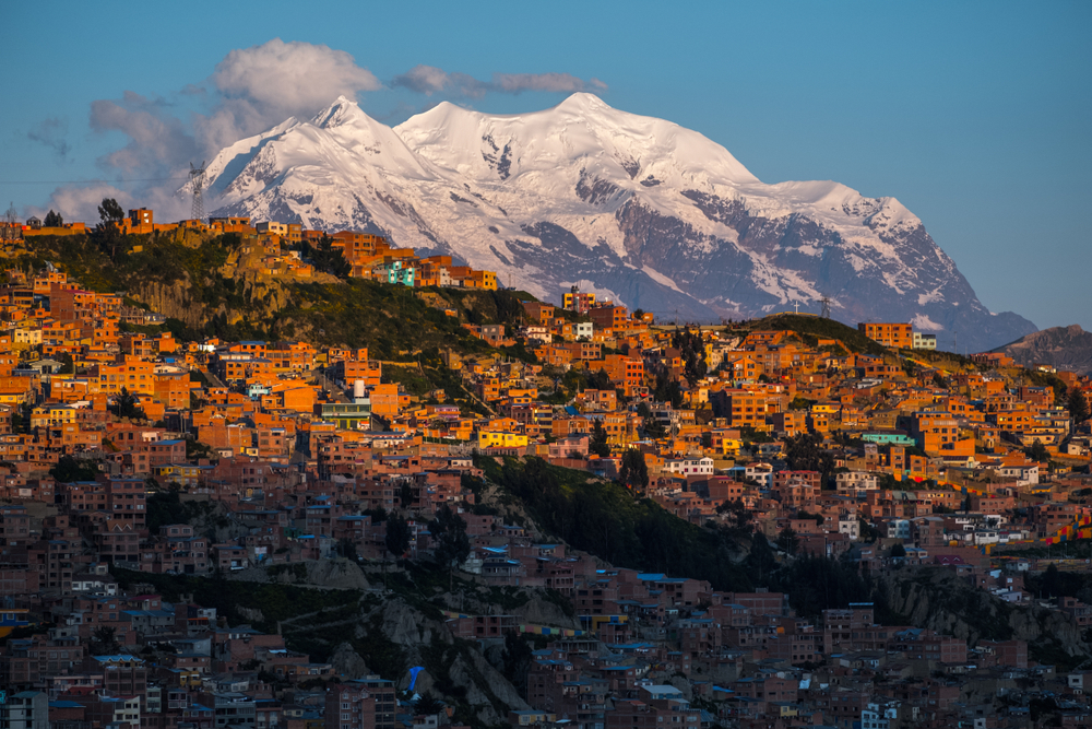 The capital of La Paz, with mountains in the background