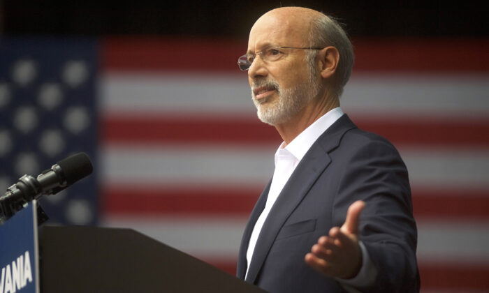 Pennsylvania Gov. Tom Wolf speaks at a campaign rally in Philadelphia, Pennsylvania on Sep. 21, 2018. (Mark Makela/Getty Images)