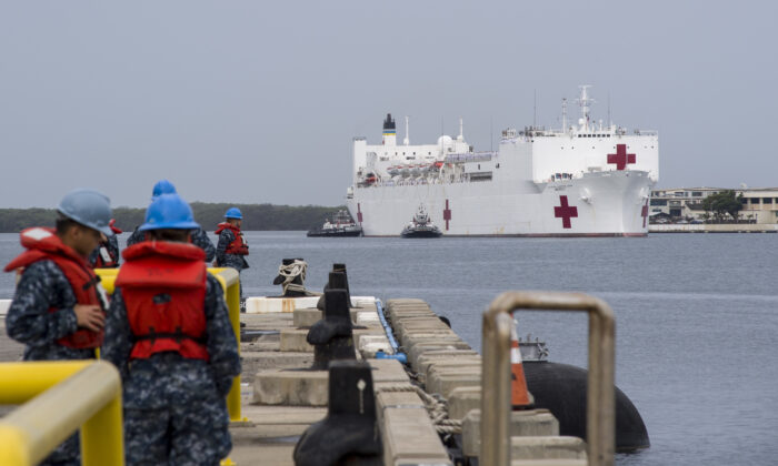The USNS Mercy arrives at Joint Base Pearl Harbor-Hickam, Hawaii, on March 3, 2018. (U.S. Navy Photo by Mass Communications Specialist 2nd Class Katarzyna Kobiljak)