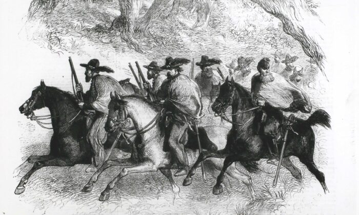 Texas Rangers (Federalists) reconnoturing between Alexandria and Fairfax, Virginia. (Hulton Archive/Getty Images)