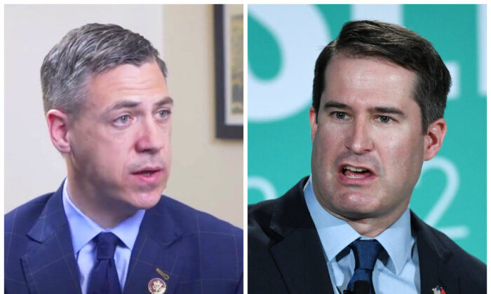 Rep. Jim Banks (R-Ind.) (L) and Rep. Seth Moulton (D-Mass.). (Screenshot via The Epoch Times and Ethan Miller/Getty Images)