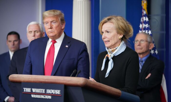 Response coordinator for White House Coronavirus Task Force Deborah Birx speaks, while US President Donald Trump listens, during the daily briefing on the CCP virus, at the White House in Washington, DC on March 24, 2020. (Mandel Ngan/AFP via Getty Images)