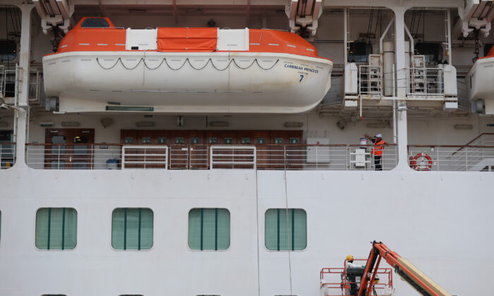 A cruise ship docked at Port Everglades in Fort Lauderdale, Florida on March 12, 2020. (Joe Raedle/Getty Images)