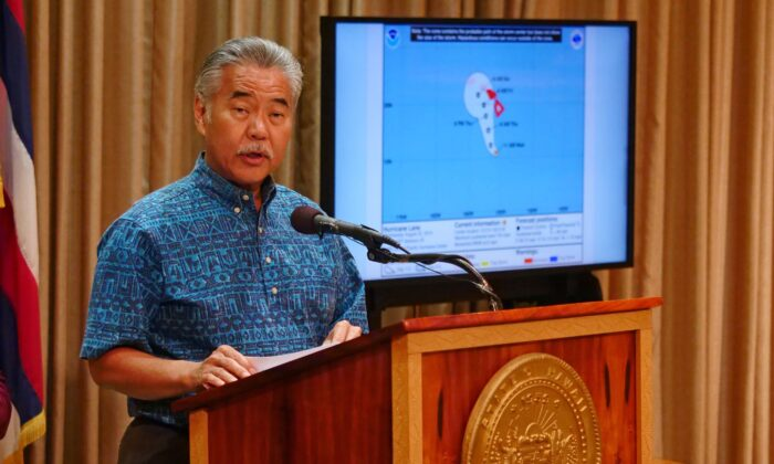 File photo showing Hawaii Gov. David Ige speaking at a press conference in Honolulu, Hawaii, on Aug. 22, 2018. (Ronen Zilberman/AFP/Getty Images)