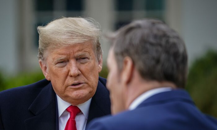 President Donald Trump (L) speaks with anchor Bill Hemmer during a Fox News virtual town hall meeting from the Rose Garden of the White House in Washington on March 24, 2020. (Mandel Ngan/AFP via Getty Images)