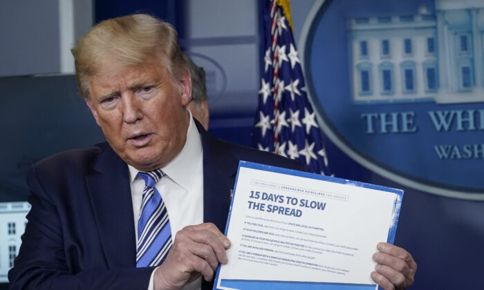 President Donald Trump speaks at the daily coronavirus briefing at the White House in Washington, on March 23, 2020. (Drew Angerer/Getty Images)