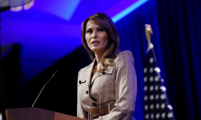 First Lady Melania Trump addresses the 2020  National Parent Teacher Association Legislative Conference at the Westin Alexandria Old Town in Alexandria, Virginia, on March 10, 2020. (Olivier Douliery/AFP via Getty Images)