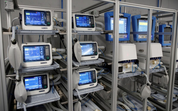 FILE PHOTO: Ventilators of Hamilton Medical AG are seen at a plant in Domat/Ems