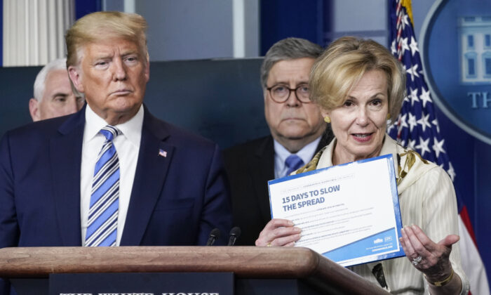 President Donald Trump reacts to White House coronavirus response coordinator Deborah Birx (R) as she speaks at the daily CCP virus briefing at the White House on March 23, 2020. (Drew Angerer/Getty Images)