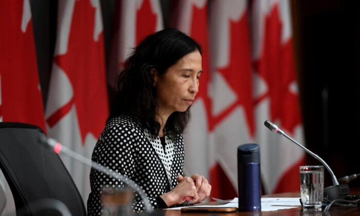 Chief Public Health Officer of Canada Dr. Theresa Tam listens to questions at a press conference on COVID-19 at West Block on Parliament Hill in Ottawa, on March 24, 2020. Officials are warning equipment shortfalls, lack of screening and outbreaks in confined settings are placing Canada's most vulnerable residents at growing risk of exposure to the COVID-19 pandemics. (Justin Tang/The Canadian Press)