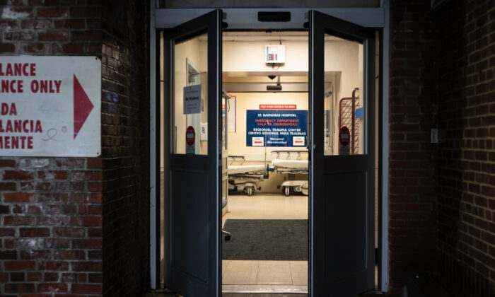 Doors lead into the Emergency Department at St. Barnabas Hospital in the Bronx, New York City, on March 23, 2020. (Misha Friedman/Getty Images)