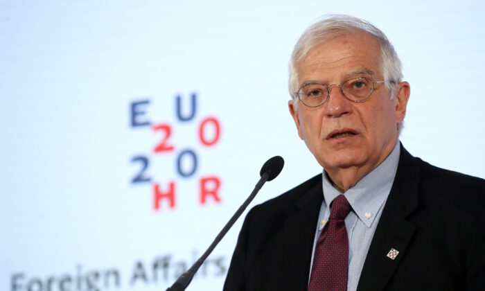 High Representative of the European Union Josep Borrell Fontelles at a press conference in Zagreb, Croatia, on March 6, 2020. (DAMIR SENCAR/AFP via Getty Images)