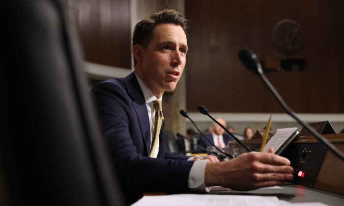 Senate Armed Services Committee member Sen. Josh Hawley (R-OM) questions witnesses during a hearing in the Dirksen Senate Office Building on Capitol Hill  in Washington, on Dec. 03, 2019. (Chip Somodevilla/Getty Images)