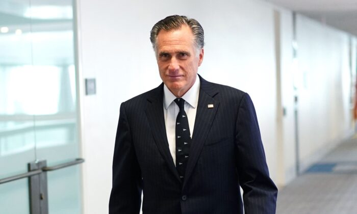 Sen. Mitt Romney (R-Utah) arrives for the Republican policy luncheon at the Hart Senate Office Building in Washington, on March 19, 2020. (Mandel Ngan/AFP via Getty Images)