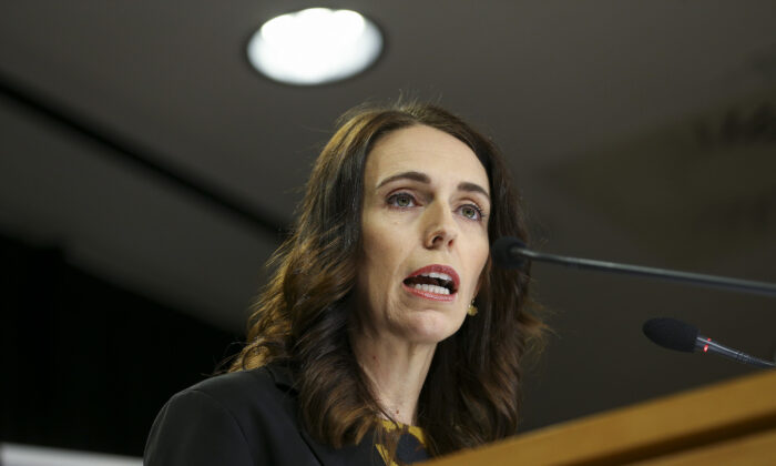 New Zealand Prime Minister Jacinda Ardern at a press conference ahead of a nationwide lockdown at Parliament in Wellington, New Zealand on March 25, 2020. (Hagen Hopkins/Getty Images)