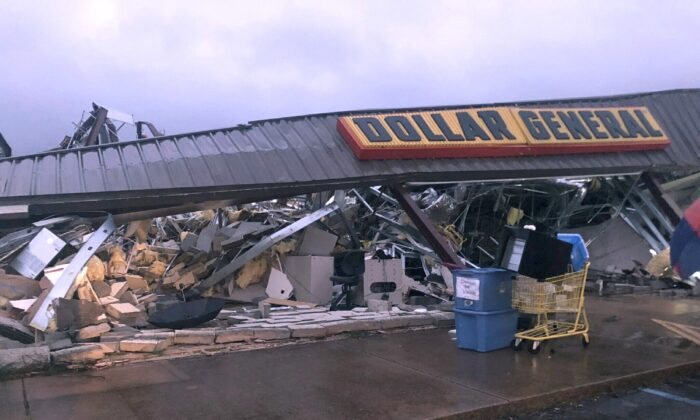 A Dollar General store in Tishomingo, Miss., is completely destroyed after a suspected tornado swept through the area on March 24, 2020. (Kayla Thompson/WTVA via AP)