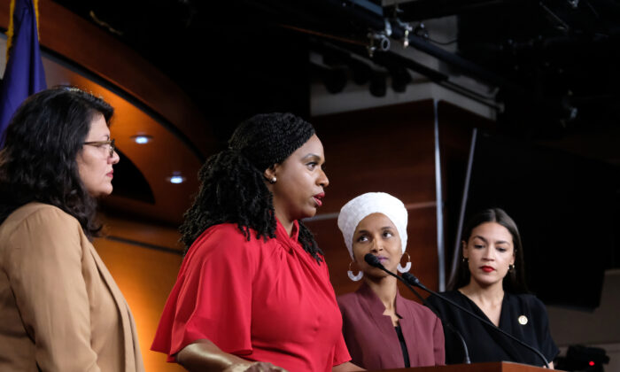 Rep. Ayanna Pressley (D-Mass.) speaks as Reps. Rashida Tlaib (D-Mich.), Ilhan Omar (D-Minn.), and Alexandria Ocasio-Cortez (D-N.Y.) listen during a news conference in Washington, on July 15, 2019. (Alex Wroblewski/Getty Images)