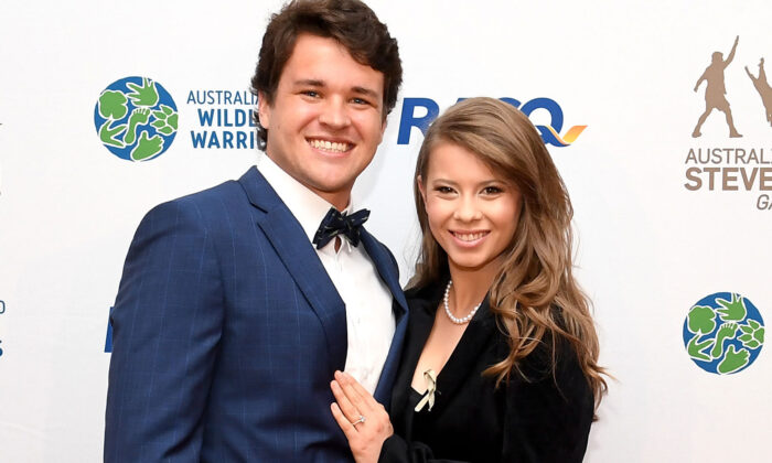 Bindi Irwin poses for a photo with fiance Chandler Powell at the annual Steve Irwin Gala Dinner at Brisbane Convention & Exhibition Centre in Brisbane, Australia, on Nov. 9, 2019. (Bradley Kanaris/Getty Images)