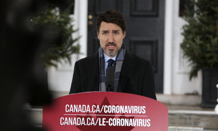Canadian Prime Minister Justin Trudeau speaks during a news conference on COVID-19 situation in Canada from his residence in Ottawa, Canada, on  March 23, 2020. (Dave Chan / AFP via Getty Images)