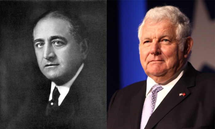Left: An engraved portrait of American newspaper publisher Adolph Ochs, published on 1918. (The Cyclopædia of American Biography via Wikimedia Commons) Right: William Bennett, former education secretary under Reagan, speaks at the Values Voter Summit in Washington on Oct. 20, 2011. (Gage Skidmore/Wikimedia Commons/CC BY-SA 3.0)