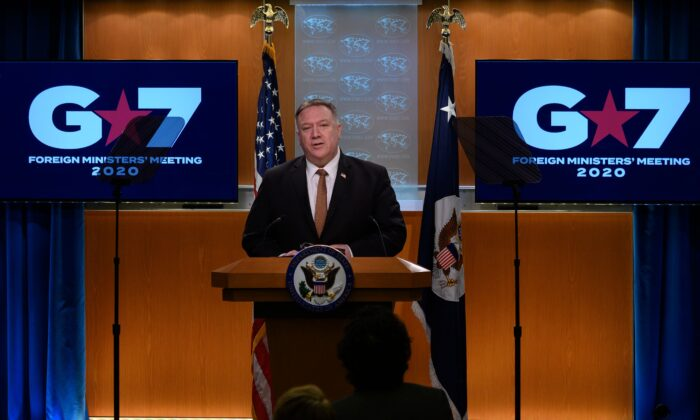 Secretary of State Mike Pompeo speaks during a press conference at the State Department in Washington on March 25, 2020. (Andrew Caballero-Reynolds/AFP via Getty Images)