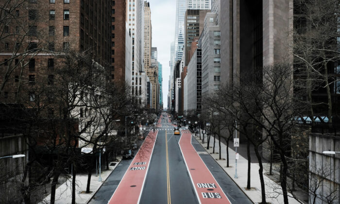 42nd Street stands mostly empty as  as much of the city is devoid of cars and pedestrians over fears of spreading the CCP virus in New York City on March 22, 2020. (Spencer Platt/Getty Images)