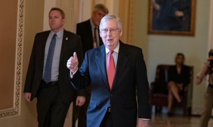 Senate Majority Leader Mitch McConnell (R-Ky.) leaves the Senate floor at the Capitol in Washington on March 25, 2020. (Alex Edelman/AFP via Getty Images)