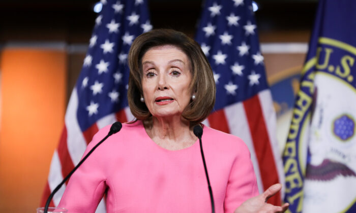 House Speaker Nancy Pelosi (D-Calif.) holds a press conference on Capitol Hill in Washington on March 26, 2020. (Charlotte Cuthbertson/The Epoch Times)