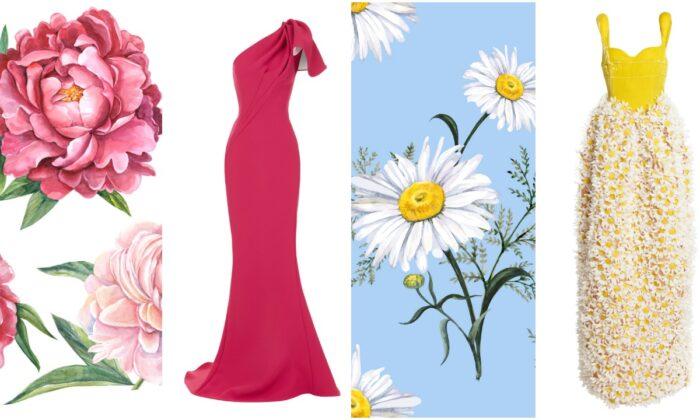 Dresses by (L) Oscar de la Renta and (R) Rosie Assoulin. (Mode Operandi. Illustrations by Olga_Koelsch/Shutterstock and Jena_Velour/Shutterstock)