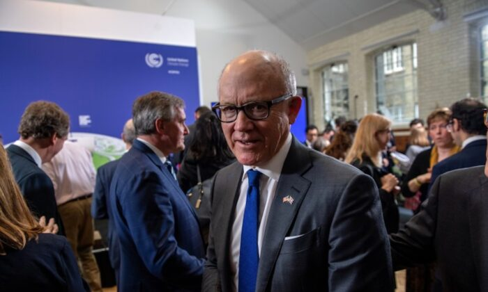 U.S. Ambassador to the United Kingdom, Woody Johnson, is pictured after listening to British Prime Minister Boris Johnson and David Attenborough during a conference about the UK-hosted COP26 UN Climate Summit, at the Science Museum in London, Britain, on Feb. 4, 2020. (Chris J Ratcliffe/Pool via Reuters)