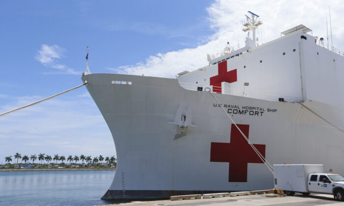 The U.S. Navy hospital ship USNS Comfort is shown docked at the Port of Miami following a tour of the vessel by U.S. Vice President Mike Pence in Miami, Florida, on June 18, 2019. (Joe Skipper/Getty Images)