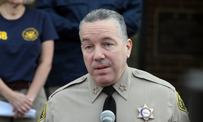Los Angeles County Sheriff Alex Villanueva speaks at a news conference in a file photograph. (Josh Lefkowitz/Getty Images)