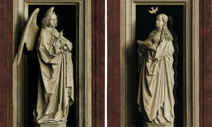 "The ""Annunciation Diptych,"" circa 1433–1435, by Jan van Eyck. Oil on panel; Left: 15.3 inches by 9.1 inches, Right: 15.3 inches by 9.4 inches. Thyssen-Bornemisza National Museum, Madrid. (Thyssen-Bornemisza National Museum, Madrid)"