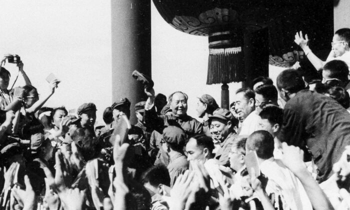 Chinese leader Mao Zedong meets with representatives of the revolutionary teachers and students from Peking and other parts of the country in August 1966. Mao launches the decade-long Cultural Revolution to reassert his authority. Schools are shut, youthful Red Guards attack political enemies, and intellectuals are persecuted or driven to suicide. (AP Photo)